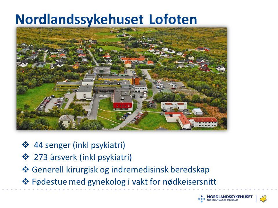 Nordlandssykehuset Lofoten  44 senger (inkl psykiatri)  273 årsverk (inkl psykiatri)  Generell kirurgisk og indremedisinsk beredskap  Fødestue med