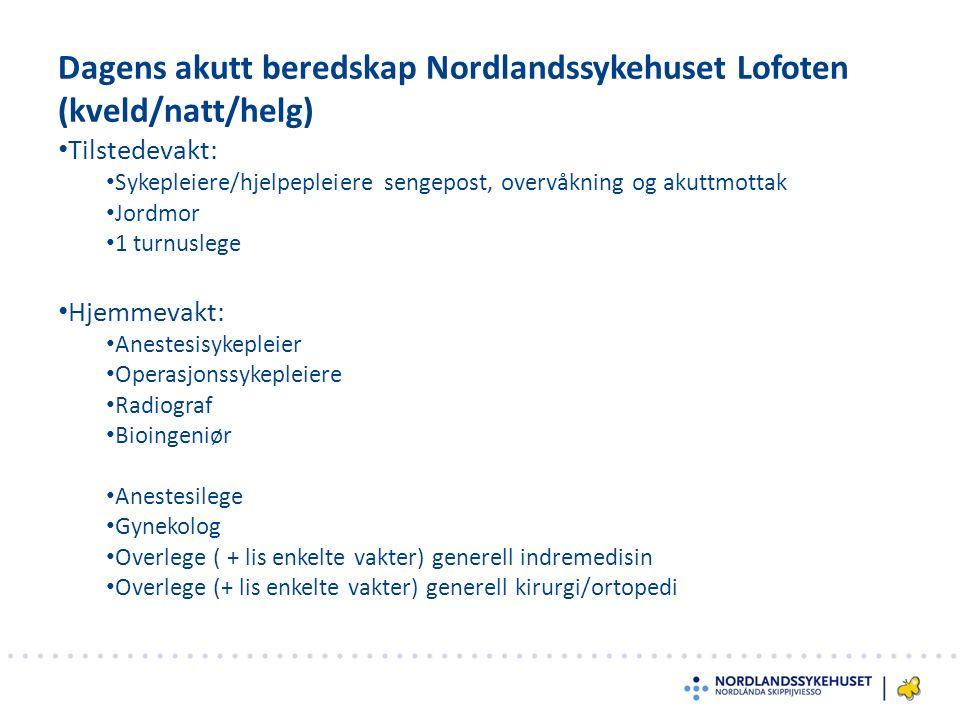 Dagens akutt beredskap Nordlandssykehuset Lofoten (kveld/natt/helg) Tilstedevakt: Sykepleiere/hjelpepleiere sengepost, overvåkning og akuttmottak Jord