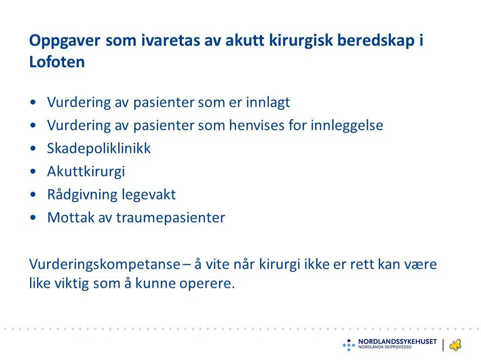 Oppgaver som ivaretas av akutt kirurgisk beredskap i Lofoten Vurdering av pasienter som er innlagt Vurdering av pasienter som henvises for innleggelse