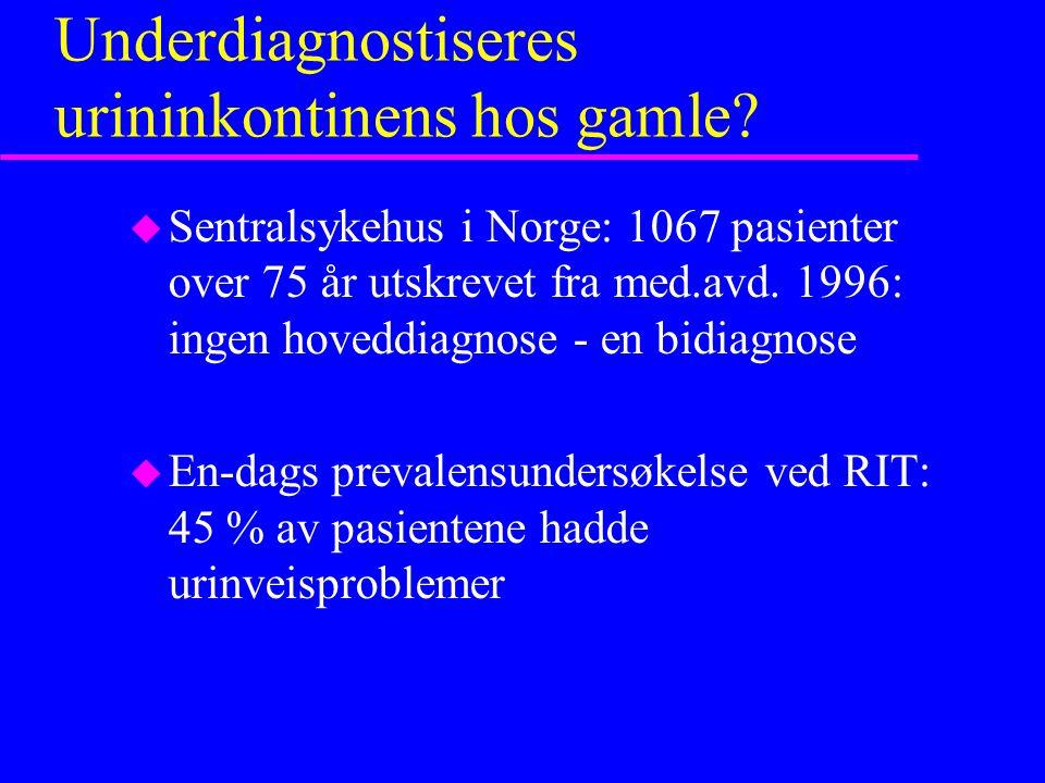 Hvor hyppig er urininkontinens hos gamle ? u 12 prevalensstudier av kvinner 60+ spredning fra 4,5 - 44% Hellstrøm et al. 974 hjemmeboende 85+ 43,5 % (