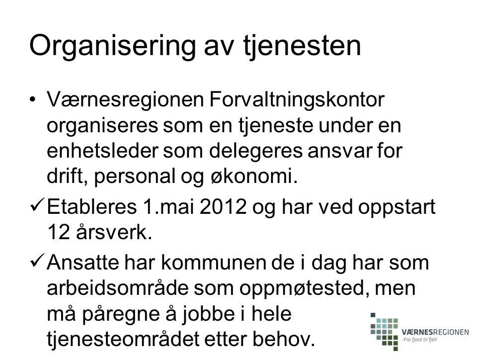 Organisering av tjenesten Værnesregionen Forvaltningskontor organiseres som en tjeneste under en enhetsleder som delegeres ansvar for drift, personal og økonomi.