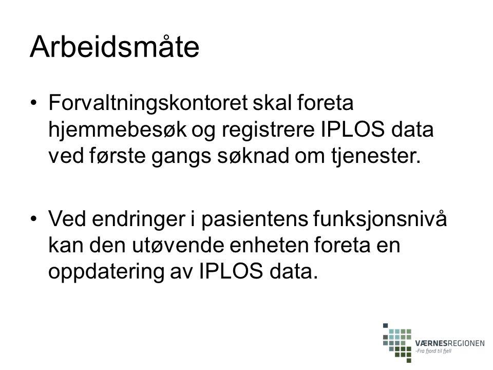 Arbeidsmåte Forvaltningskontoret skal foreta hjemmebesøk og registrere IPLOS data ved første gangs søknad om tjenester. Ved endringer i pasientens fun
