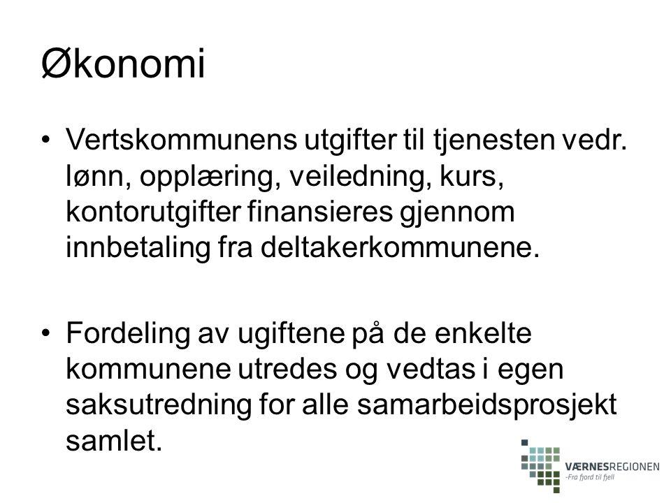 Økonomi Vertskommunens utgifter til tjenesten vedr. lønn, opplæring, veiledning, kurs, kontorutgifter finansieres gjennom innbetaling fra deltakerkomm