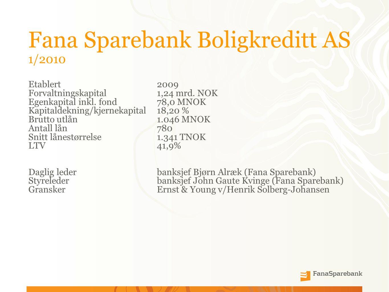 Fana Sparebank Boligkreditt AS 1/2010 Etablert 2009 Forvaltningskapital1,24 mrd.