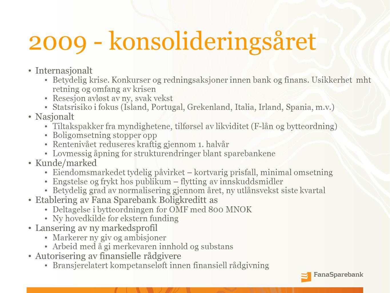 2009 - konsolideringsåret Internasjonalt Betydelig krise.