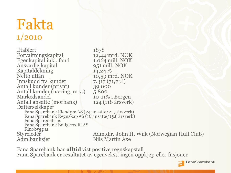 Fakta 1/2010 Etablert 1878 Forvaltningskapital12,44 mrd.