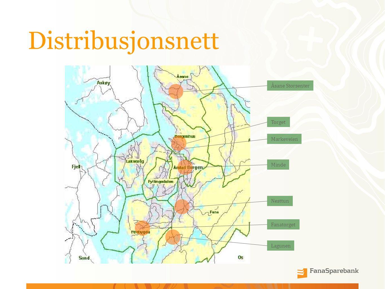 Distribusjonsnett Åsane Storsenter Torget Minde Nesttun Lagunen Fanatorget Markeveien