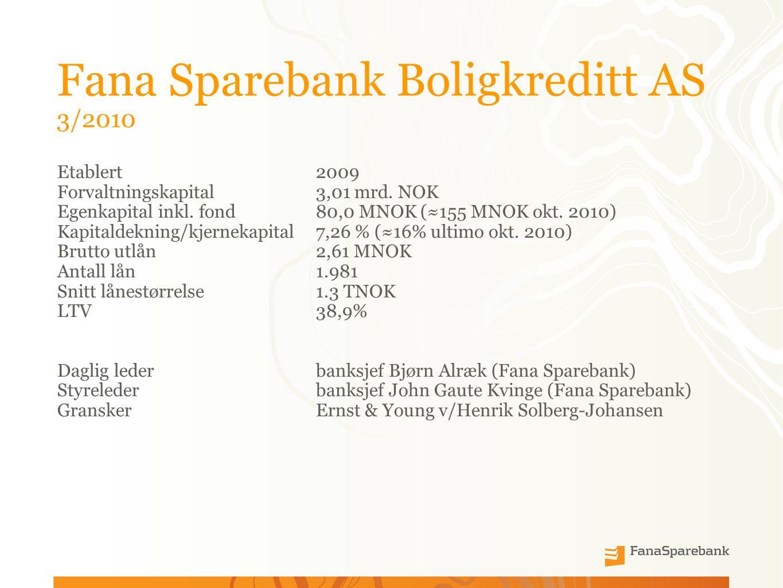 Fana Sparebank Boligkreditt AS 3/2010 Etablert 2009 Forvaltningskapital3,01 mrd.