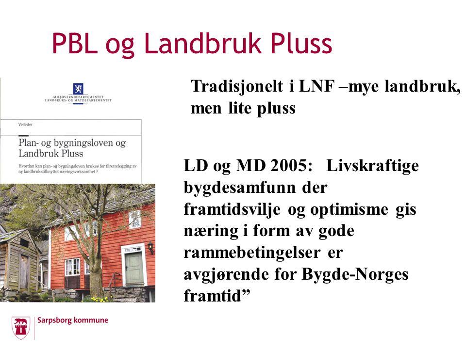 PBL og Landbruk Pluss i Sarpsborg Landbruksplan – småskalaproduksjon utgangspunkt i gårdens og familiens ressurser Retningslinjer til LNF i arealdelen: Landbruksbegrepet def.