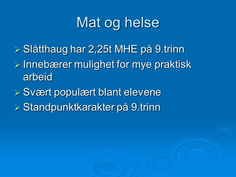 Mat og helse  Slåtthaug har 2,25t MHE på 9.trinn  Innebærer mulighet for mye praktisk arbeid  Svært populært blant elevene  Standpunktkarakter på 9.trinn