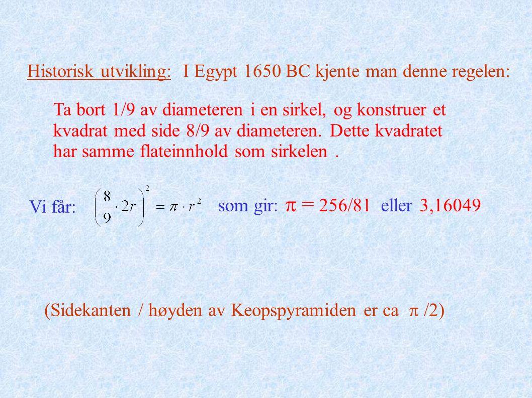 Historisk utvikling: I Egypt 1650 BC kjente man denne regelen: (Sidekanten / høyden av Keopspyramiden er ca  /2) Ta bort 1/9 av diameteren i en sirkel, og konstruer et kvadrat med side 8/9 av diameteren.