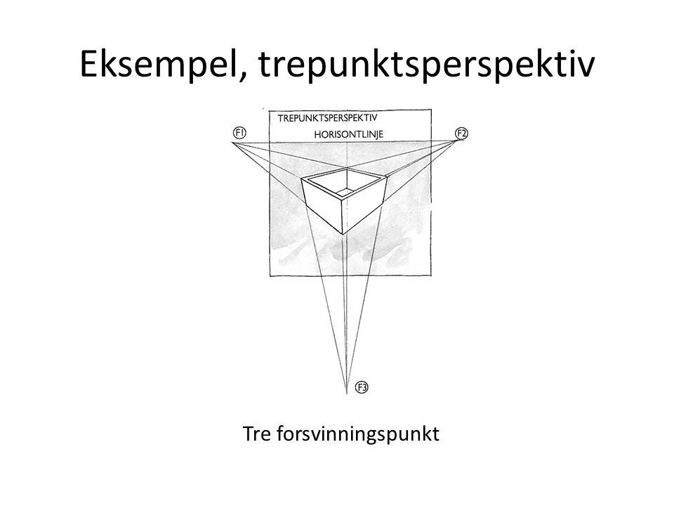 Eksempel, trepunktsperspektiv Tre forsvinningspunkt