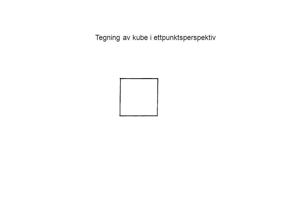 Tegning av kube i ettpunktsperspektiv