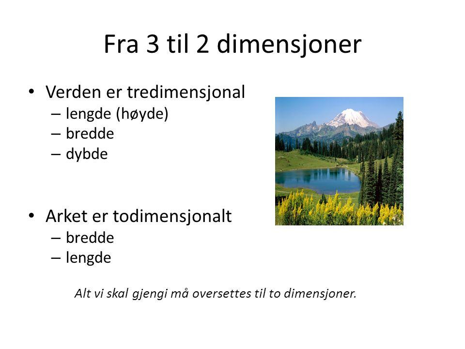 Fra 3 til 2 dimensjoner Verden er tredimensjonal – lengde (høyde) – bredde – dybde Arket er todimensjonalt – bredde – lengde Alt vi skal gjengi må oversettes til to dimensjoner.