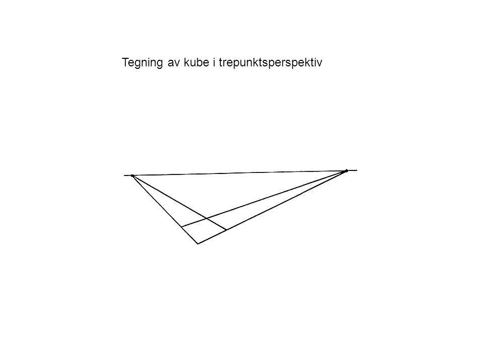 Tegning av kube i trepunktsperspektiv