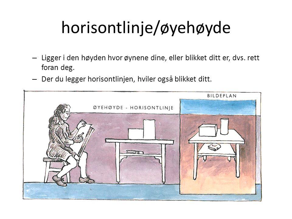 horisontlinje/øyehøyde – Ligger i den høyden hvor øynene dine, eller blikket ditt er, dvs. rett foran deg. – Der du legger horisontlinjen, hviler også