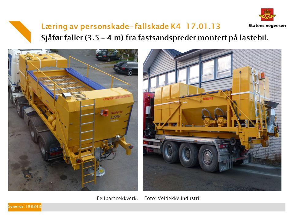 Sjåfør faller (3.5 – 4 m) fra fastsandspreder montert på lastebil.