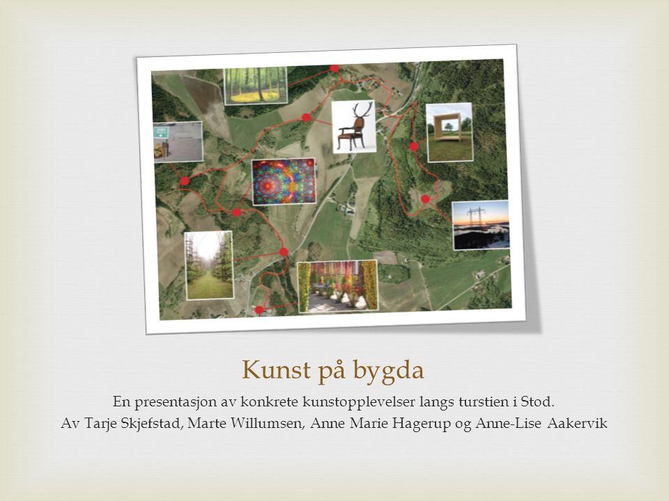 Kunst på bygda En presentasjon av konkrete kunstopplevelser langs turstien i Stod. Av Tarje Skjefstad, Marte Willumsen, Anne Marie Hagerup og Anne-Lis