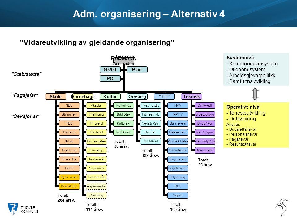 TYSVÆR KOMMUNE Adm. organisering – Alternativ 4 RÅDMANN Ass.