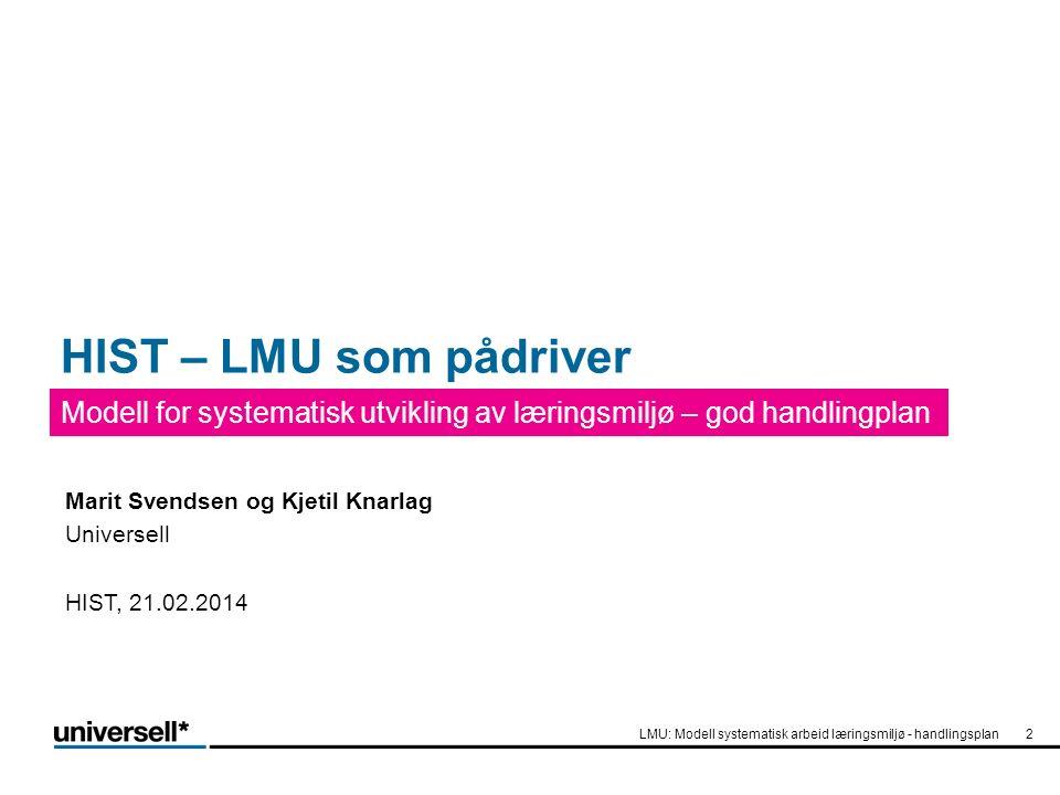 HIST – LMU som pådriver Modell for systematisk utvikling av læringsmiljø – god handlingplan LMU: Modell systematisk arbeid læringsmiljø - handlingsplan2 Marit Svendsen og Kjetil Knarlag Universell HIST, 21.02.2014
