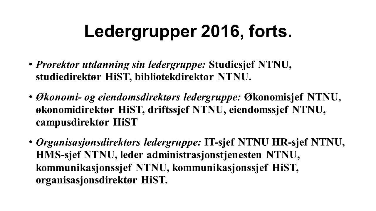 Ledergrupper 2016, forts.