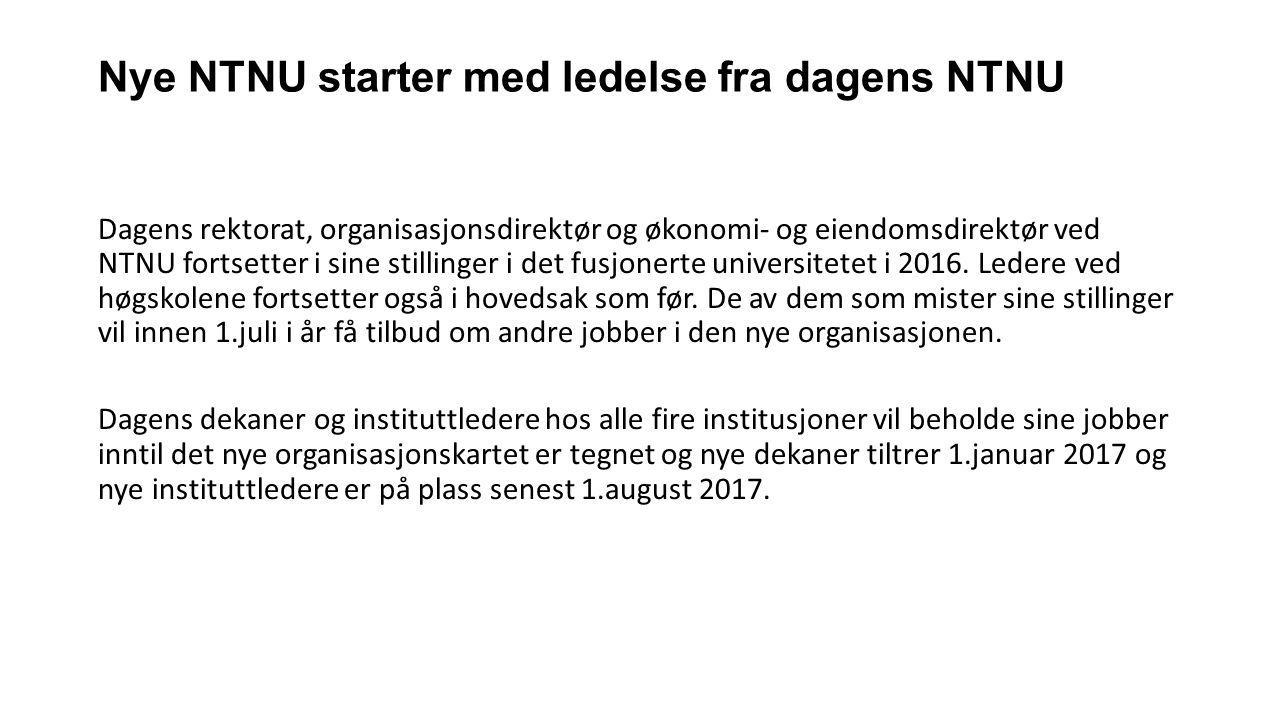 Nye NTNU starter med ledelse fra dagens NTNU Dagens rektorat, organisasjonsdirektør og økonomi- og eiendomsdirektør ved NTNU fortsetter i sine stillinger i det fusjonerte universitetet i 2016.