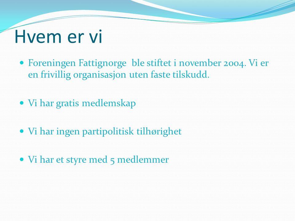 Hvem er vi Foreningen Fattignorge ble stiftet i november 2004.