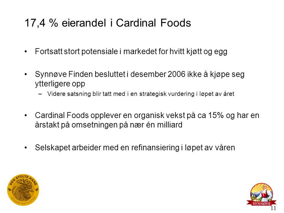11 17,4 % eierandel i Cardinal Foods Fortsatt stort potensiale i markedet for hvitt kjøtt og egg Synnøve Finden besluttet i desember 2006 ikke å kjøpe