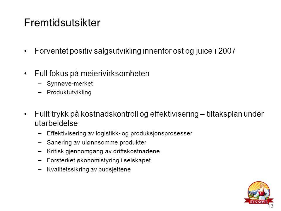 13 Fremtidsutsikter Forventet positiv salgsutvikling innenfor ost og juice i 2007 Full fokus på meierivirksomheten –Synnøve-merket –Produktutvikling F