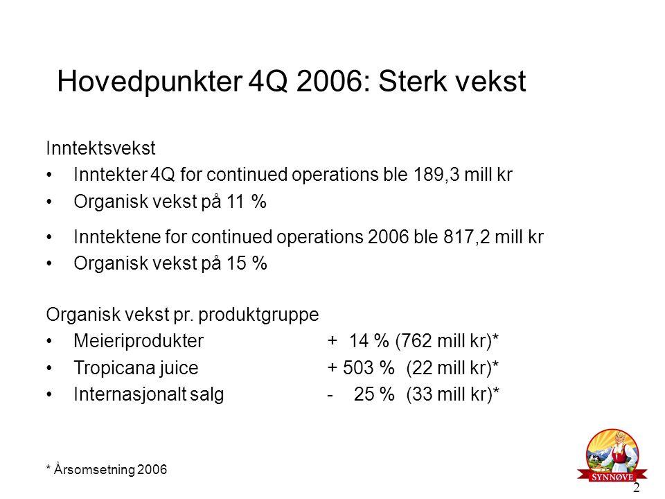 2 Hovedpunkter 4Q 2006: Sterk vekst Inntektsvekst Inntekter 4Q for continued operations ble 189,3 mill kr Organisk vekst på 11 % Inntektene for contin