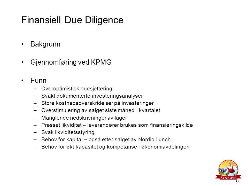 9 Finansiell Due Diligence Bakgrunn Gjennomføring ved KPMG Funn –Overoptimistisk budsjettering –Svakt dokumenterte investeringsanalyser –Store kostnad