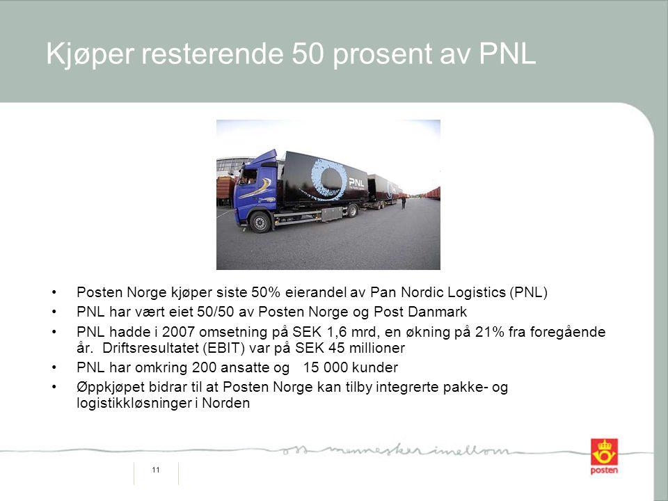 11 Kjøper resterende 50 prosent av PNL Posten Norge kjøper siste 50% eierandel av Pan Nordic Logistics (PNL) PNL har vært eiet 50/50 av Posten Norge og Post Danmark PNL hadde i 2007 omsetning på SEK 1,6 mrd, en økning på 21% fra foregående år.