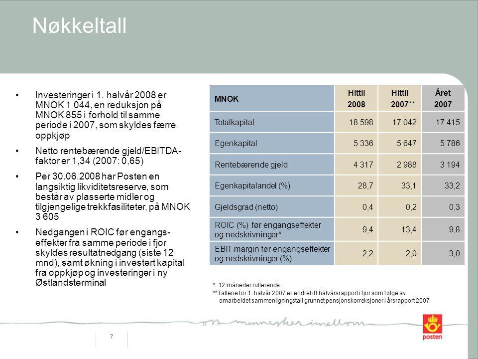 8 Bemanning Bemanning årsverk, segment Omsetning/årsverk Omsetning siste 12 mnd/årsverk Glidende 12 mnd KNOK 2008 2007