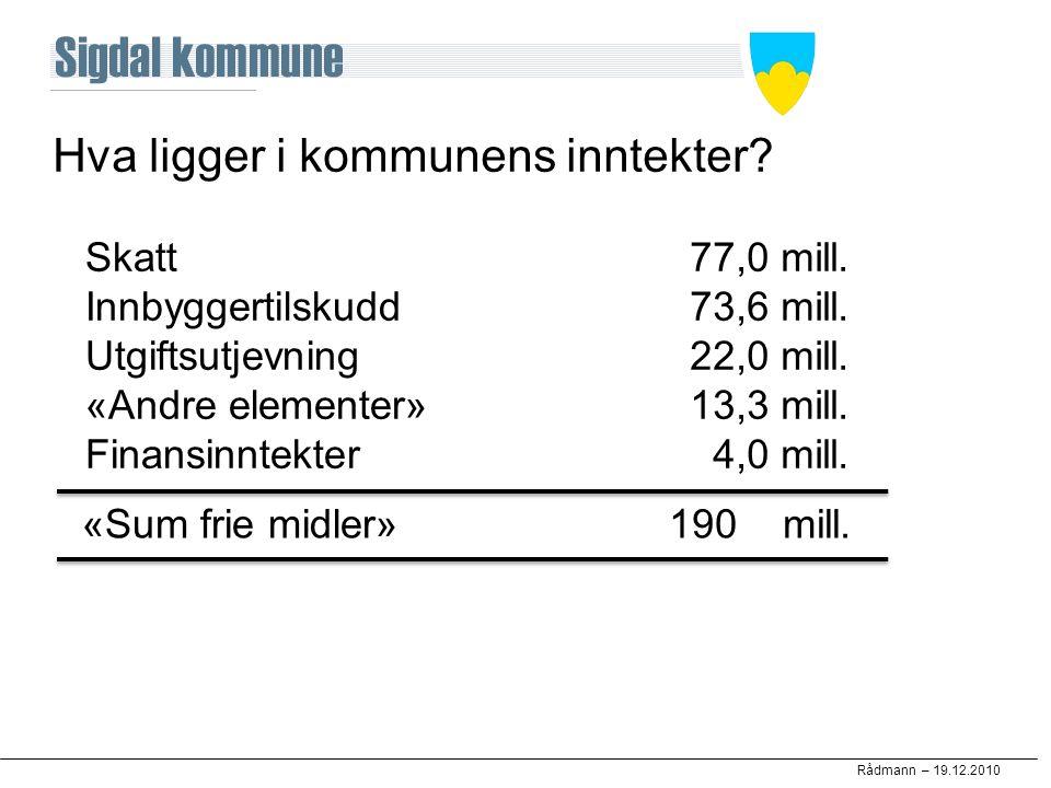 Rådmann – 19.12.2010 Hva ligger i kommunens inntekter? Skatt Innbyggertilskudd Utgiftsutjevning «Andre elementer» Finansinntekter 77,0 mill. 73,6 mill