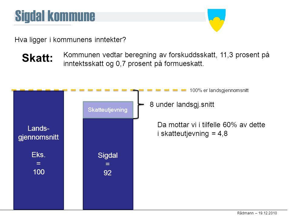 Rådmann – 19.12.2010 Hva ligger i kommunens inntekter? Skatt: Kommunen vedtar beregning av forskuddsskatt, 11,3 prosent på inntektsskatt og 0,7 prosen
