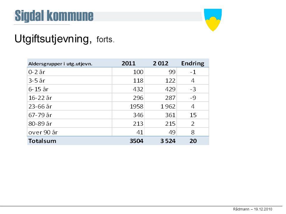 Rådmann – 19.12.2010 Utgiftsutjevning, forts.