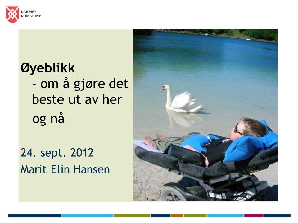Øyeblikk - om å gjøre det beste ut av her og nå 24. sept. 2012 Marit Elin Hansen