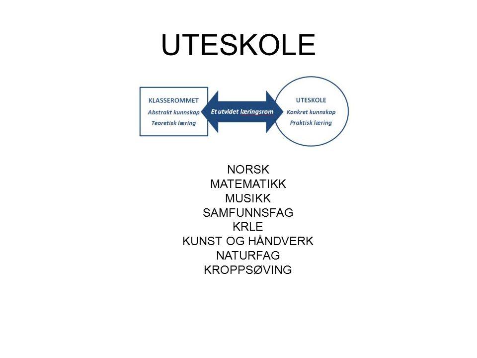 UTESKOLE NORSK MATEMATIKK MUSIKK SAMFUNNSFAG KRLE KUNST OG HÅNDVERK NATURFAG KROPPSØVING