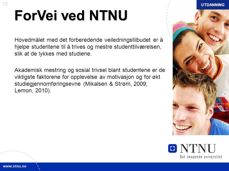 12 NTNU mars 2010 ForVei ved NTNU Hovedmålet med det forberedende veiledningstilbudet er å hjelpe studentene til å trives og mestre studenttilværelsen