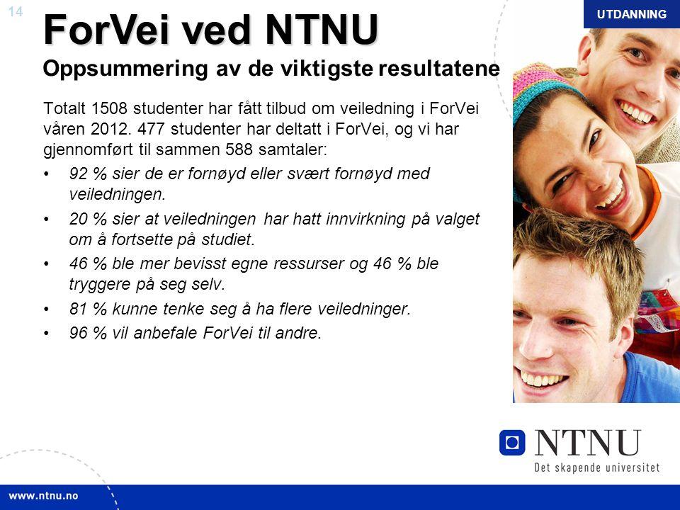 14 NTNU mars 2010 ForVei ved NTNU ForVei ved NTNU Oppsummering av de viktigste resultatene Totalt 1508 studenter har fått tilbud om veiledning i ForVe
