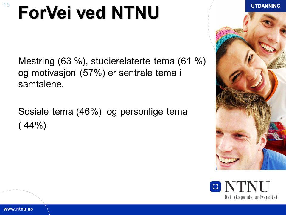 15 NTNU mars 2010 ForVei ved NTNU ForVei ved NTNU Mestring (63 %), studierelaterte tema (61 %) og motivasjon (57%) er sentrale tema i samtalene. Sosia