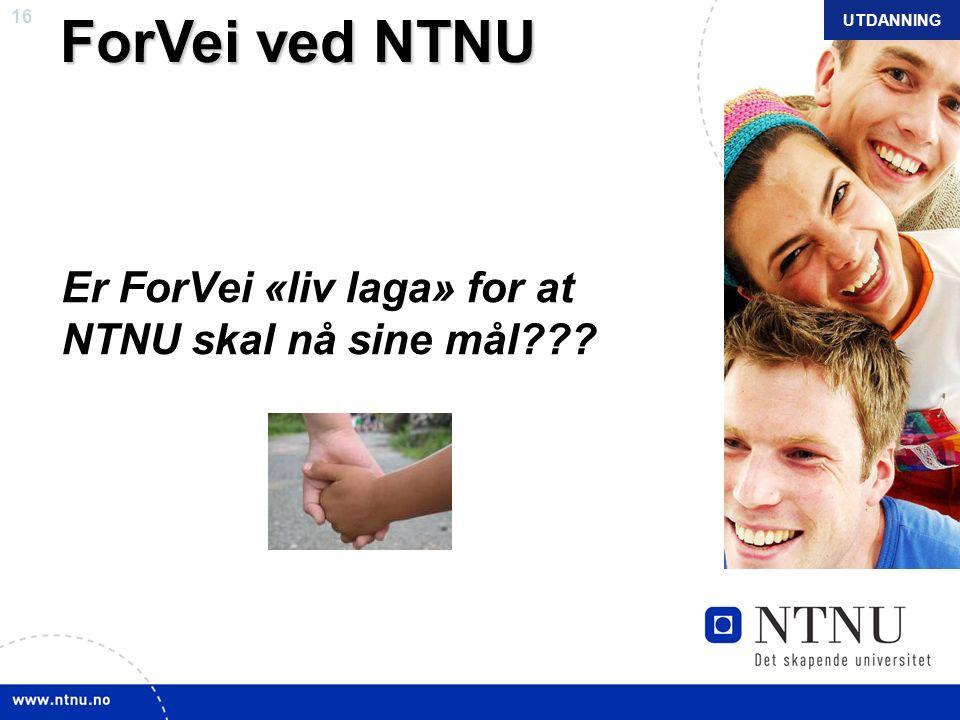 16 NTNU mars 2010 ForVei ved NTNU ForVei ved NTNU Er ForVei «liv laga» for at NTNU skal nå sine mål??? UTDANNING