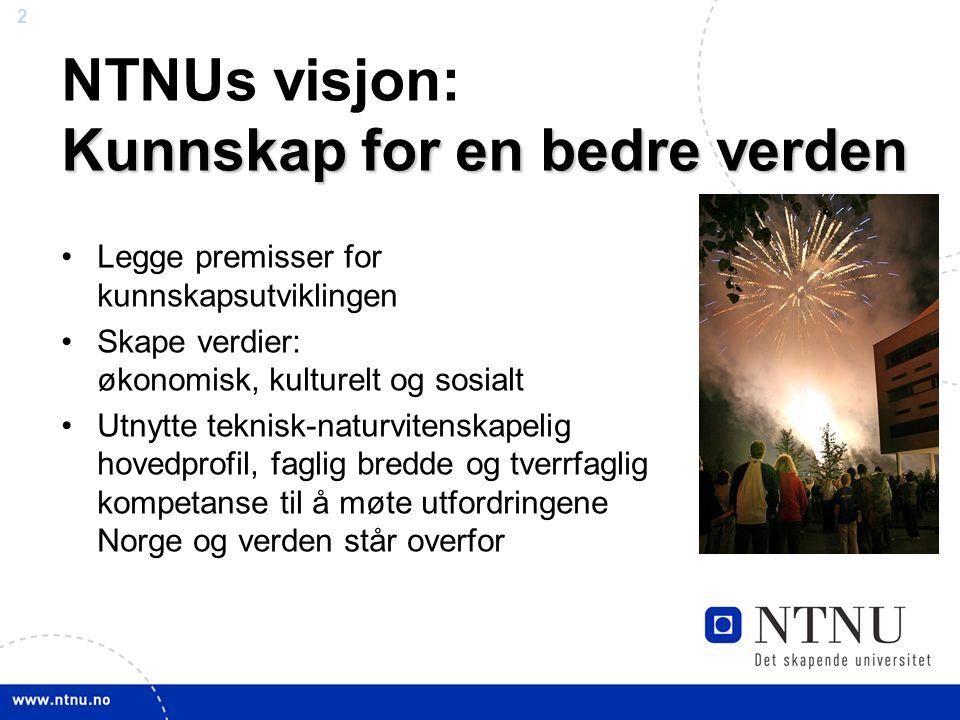 2 April 2012 Kunnskap for en bedre verden NTNUs visjon: Kunnskap for en bedre verden Legge premisser for kunnskapsutviklingen Skape verdier: økonomisk