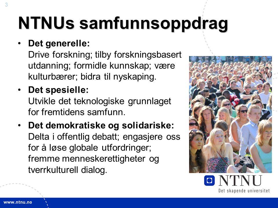 3 April 2012 NTNUs samfunnsoppdrag Det generelle: Drive forskning; tilby forskningsbasert utdanning; formidle kunnskap; være kulturbærer; bidra til nyskaping.