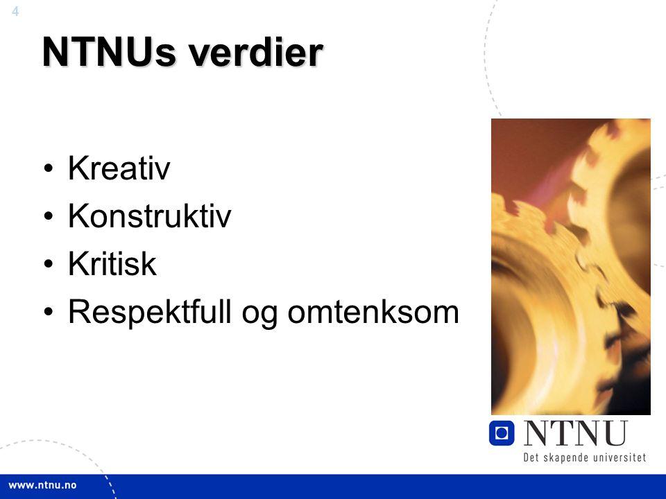 4 NTNU mars 2010 NTNUs verdier Kreativ Konstruktiv Kritisk Respektfull og omtenksom