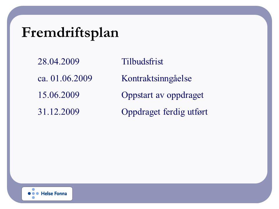 28.04.2009Tilbudsfrist ca. 01.06.2009Kontraktsinngåelse 15.06.2009Oppstart av oppdraget 31.12.2009Oppdraget ferdig utført Fremdriftsplan