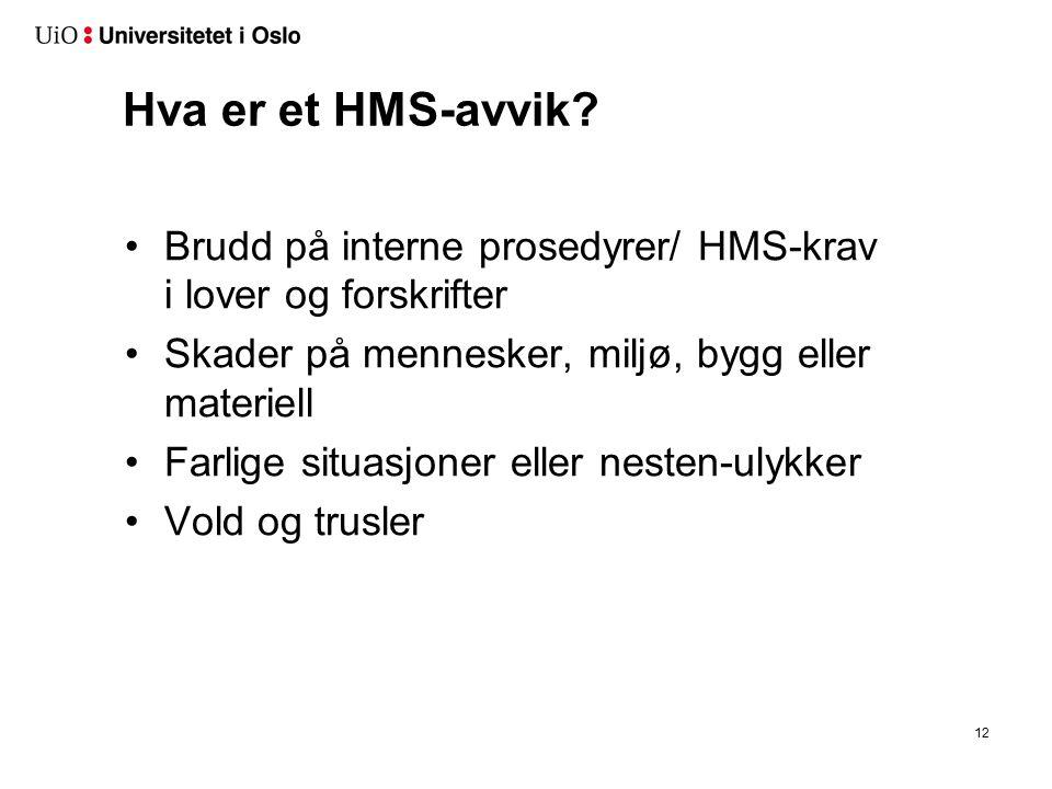 Hva er et HMS-avvik? Brudd på interne prosedyrer/ HMS-krav i lover og forskrifter Skader på mennesker, miljø, bygg eller materiell Farlige situasjoner