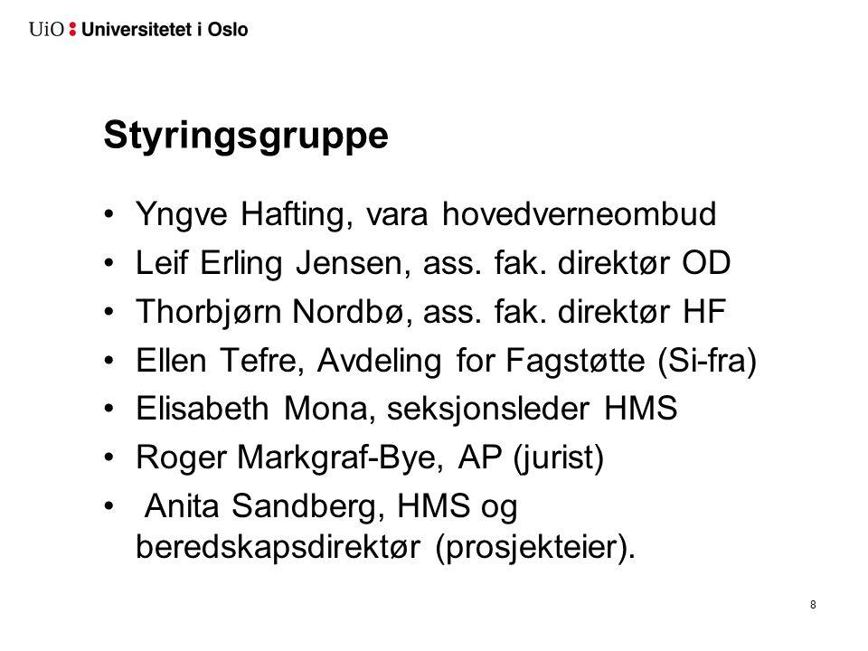 Styringsgruppe Yngve Hafting, vara hovedverneombud Leif Erling Jensen, ass.