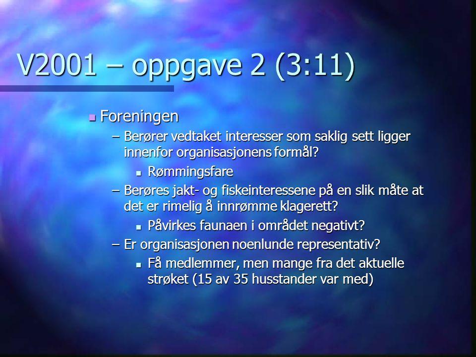 V2001 – oppgave 2 (3:11) Foreningen Foreningen –Berører vedtaket interesser som saklig sett ligger innenfor organisasjonens formål.