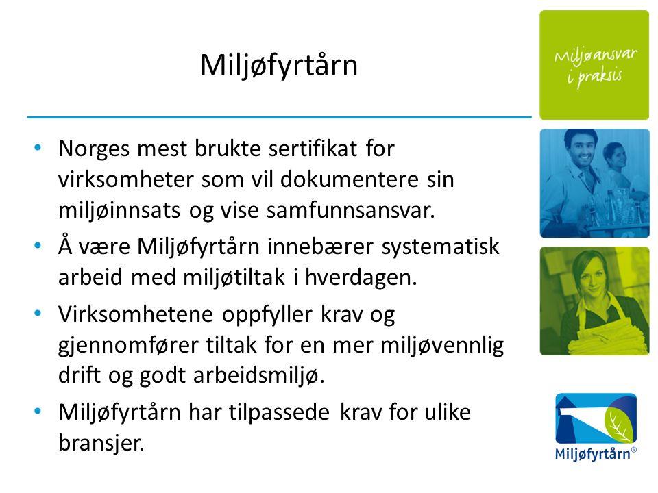 Miljøfyrtårn Norges mest brukte sertifikat for virksomheter som vil dokumentere sin miljøinnsats og vise samfunnsansvar. Å være Miljøfyrtårn innebærer